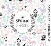 spring garden cute flowers and... | Shutterstock .eps vector #274271810