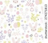 seamless pastel bunny spring... | Shutterstock .eps vector #274271813