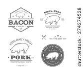 set of pork  butcher shop ... | Shutterstock .eps vector #274274528