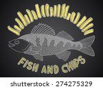 hand drawn fish and chips. made ... | Shutterstock .eps vector #274275329