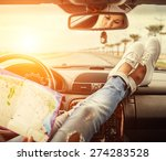 Young Woman Alone Car Traveler...