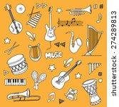 hand drawn music items set ... | Shutterstock .eps vector #274289813