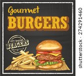 hand drawn burger and chips on... | Shutterstock .eps vector #274291460