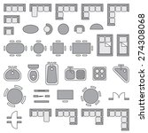 standard furniture symbols used ... | Shutterstock .eps vector #274308068