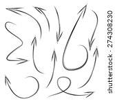 hand drawn arrows  vector set | Shutterstock .eps vector #274308230