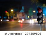 Red Traffic Light On The Road...