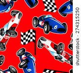 red  white and blue racing cars ...