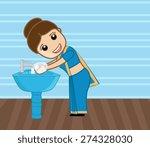 happy woman washing hands | Shutterstock .eps vector #274328030