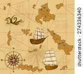 seamless old map with a compass ... | Shutterstock .eps vector #274336340