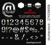 set of chrome letters and... | Shutterstock .eps vector #274338008