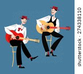 two men playing a guitar....   Shutterstock .eps vector #274338110