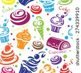 seamless pattern with cupcakes  ... | Shutterstock .eps vector #274339910