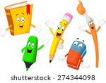 cartoon collection of stationery | Shutterstock .eps vector #274344098