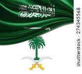 saudi arabia  flag with coat of ... | Shutterstock . vector #274345568
