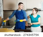 ordinary girl watching plumber... | Shutterstock . vector #274345754