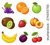 fresh fruits. fruit icon. vegan ... | Shutterstock .eps vector #274355750