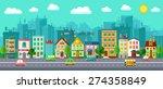 city street in a flat design... | Shutterstock .eps vector #274358849
