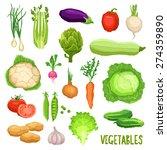 set of fresh vegetables ... | Shutterstock .eps vector #274359890