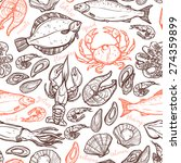 pattern with seafood hand drawn ...   Shutterstock .eps vector #274359899