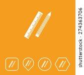 pencil   ruler icon on flat ui...