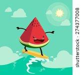 watermelon on surf board. one... | Shutterstock .eps vector #274377008