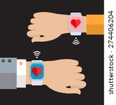 two hands with a smart watch... | Shutterstock .eps vector #274406204