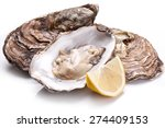 raw oyster and lemon isolated... | Shutterstock . vector #274409153