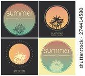 set of vintage summer logos | Shutterstock .eps vector #274414580