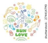 love run girl color vector... | Shutterstock .eps vector #274414790