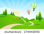 green landscape with road  hot... | Shutterstock .eps vector #274443050