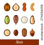 set of different nuts in flat...   Shutterstock .eps vector #274456058