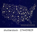 glowing usa map on the starry... | Shutterstock .eps vector #274459829