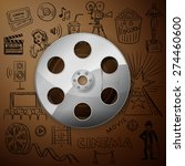 film reel and hand draw cinema...