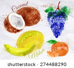 Fruit Set Drawn Watercolor...