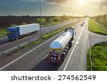 two trucks in motion blur on... | Shutterstock . vector #274562549