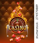 Casino background with chips, craps and burning roulette. - stock photo