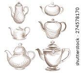 tea kettles set. teapots drawn... | Shutterstock .eps vector #274578170