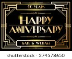 gatsby wedding anniversary card ... | Shutterstock .eps vector #274578650