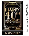 gatsby wedding anniversary card ... | Shutterstock .eps vector #274578656