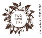 ink hand drawn frangipani ... | Shutterstock .eps vector #274582388