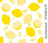 seamless lemon pattern on white ... | Shutterstock .eps vector #274587179