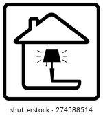 lamp on home. black icon from...