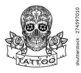 vector black and white tattoo...   Shutterstock .eps vector #274597010