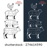 british meat cuts diagrams | Shutterstock .eps vector #274614590