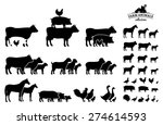 Stock vector vector farm animals collection isolated on white 274614593