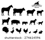 Stock vector vector farm animals silhouettes isolated on white 274614596