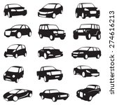 Stock vector set of fifteen black cars silhouettes 274616213