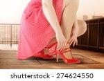 woman in red dress wooden floor ... | Shutterstock . vector #274624550