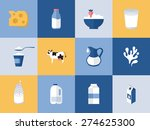 milk and dairy products icons... | Shutterstock .eps vector #274625300