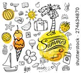 set of  vector doodle summer... | Shutterstock .eps vector #274634870